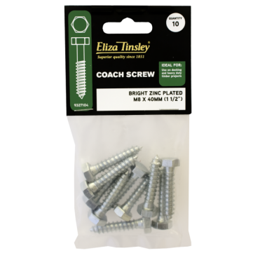 M10 X 75MM Bright Zinc Plated Coach Screw - Box of 5 Packs of 5 Pieces