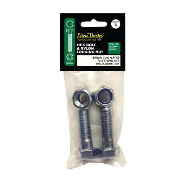 M16 X 50MM BZP Hex Bolt & Nut - Box of 5 Packs of 2 Pieces
