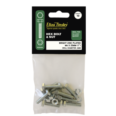 M6 X 25MM BZP Hex Bolt & Nut - Box of 5 Packs of 10 Pieces