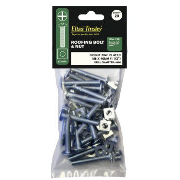 M6 X 40MM BZP Roofing Bolt & Nut - Box of 5 Packs of 20 Pieces