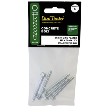 M6 X 50MM Bright Zinc Plated Concrete Bolts - Box 5 Packs of 5 Pieces