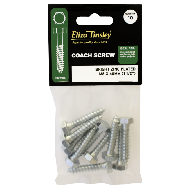 Buy Eliza Tinsley M8 X 40mm Bright Zinc Plated Coach Screw
