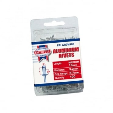 Aluminium Rivets 3mm Medium Pre-Pack of 100