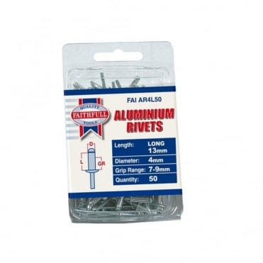 Aluminium Rivets 4mm Long Pre-Pack of 50