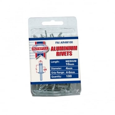 Aluminium Rivets 4mm Medium Pre-Pack of 100