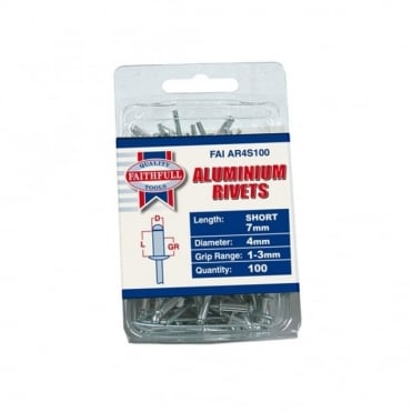 Aluminium Rivets 4mm Short Pre-Pack of 100