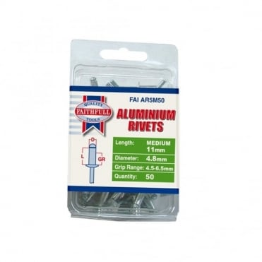 Aluminium Rivets 5mm Medium Pre-Pack of 50