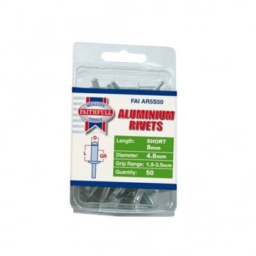 Aluminium Rivets 5mm Short Pre-Pack of 50