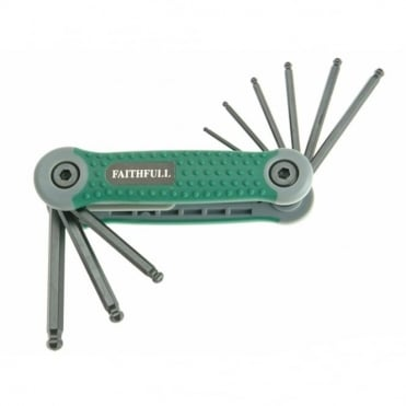 Folding Hex Key Set 9 Ball End Imperial (5/64 - 1/4in)