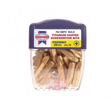 Titanium Screwdriver Bits 25mm Pozi 2 (Pack of 25)