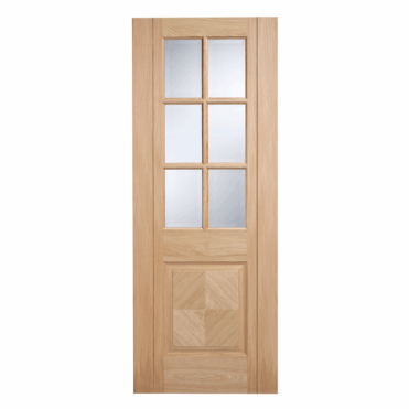 Barcelona Oak 1 Panel 6G Clear Bevelled Pre-Finished Internal Door