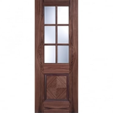 Barcelona Walnut 1 Panel 6G Clear Bevelled Pre-Finished Internal Door