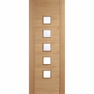 Carini Oak 7 Panel 5L Clear Glazed Unfinished Internal Door