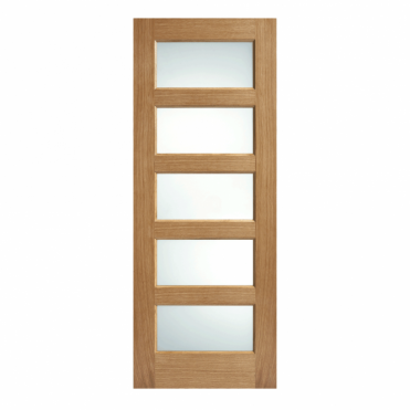 Contemporary Oak 5L Frosted Glazed Pre-Finished Internal Door
