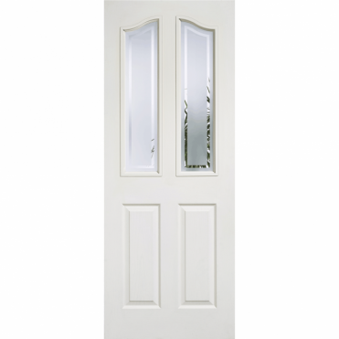 Mayfair White Composite 2 Panel 2 Lite Glazed Frosted With Clear Lines Internal Door