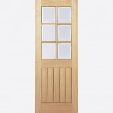 Mexicano Oak 6L Clear Bevelled Glass Pre-Finished Internal Door