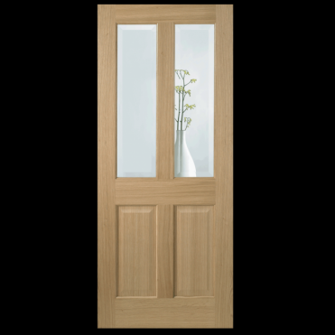 Richmond Oak With Clear Bevelled Glass Non Raised Moulding Unfinished Internal Door