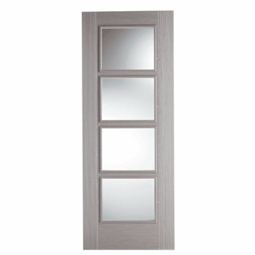 Vancouver Light Grey 4L Clear Glazed Pre-Finished Internal Door