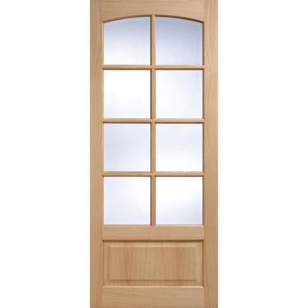 Worthing Oak 8l Glazed Bevelled Glass Unfinished Internal Door