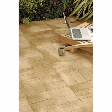 Woodstone 456X456X38mm Parquet Decking (Pack of 22) (4.6m2 Per Pack)