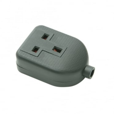 Black 13 Amp 1 Gang Rubber Extension Socket