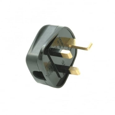 Black 13 Amp Fused Heavy-Duty Rubber Plug