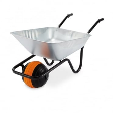 Duraball 85L Galvanised Wheelbarrow in a box with Puncture Proof Ball Wheel